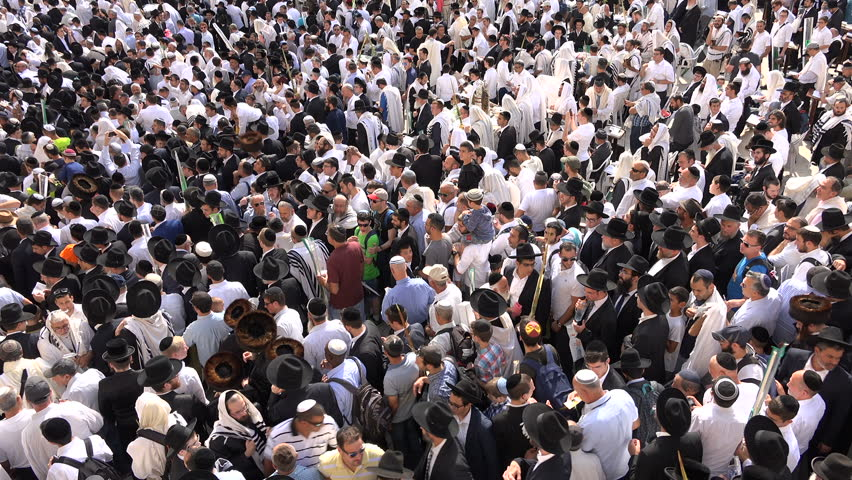 JERUSALEM, ISRAEL - 19 OCTOBER 2016: Overhead view of Jewish Orthodox men gathering at the Western Wall in Jerusalem, Israel #23137393