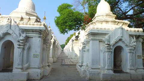 Kuthodaw Pagoda shrines that contains the world's largest book in Mandalay, Myanmar.