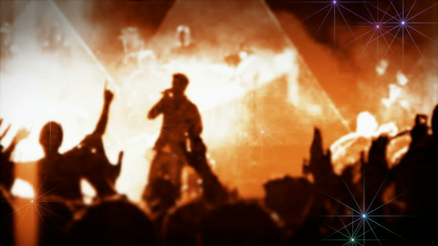 Big crowd concert popular cheering Arena stage Iconic night rock social concert crowd cheering slomo People cheer move lift clap popular hands popular against strobing stage led lights air applauding Royalty-Free Stock Footage #2314145