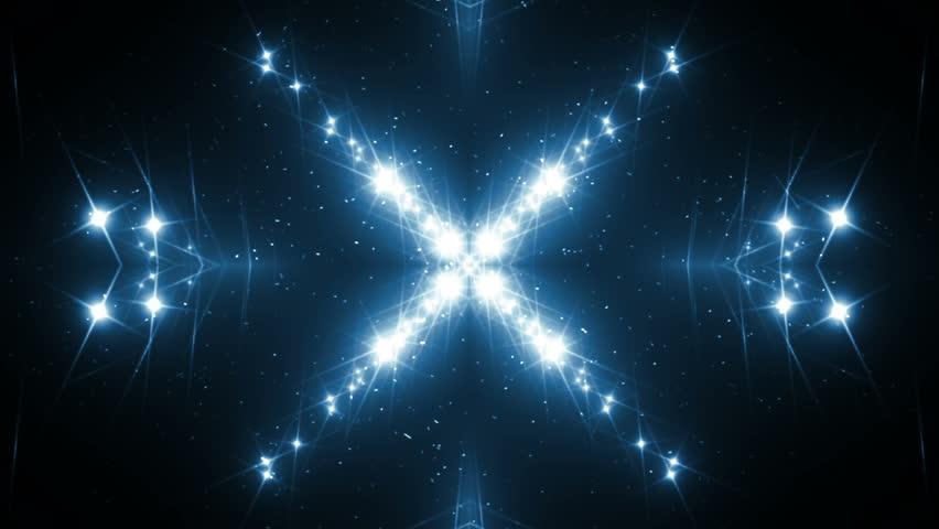 VJ Fractal blue motion graphics. Background blue motion with fractal design on black background. Disco spectrum lights concert spot bulb. Light Tunnel. Seamless loop motion graphics.