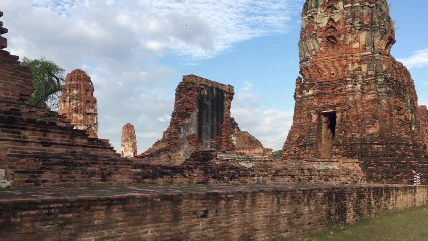 Steadicam shot : 4k Statue of Buddha at Wat Pramahathat in Ayutthaya | Shutterstock HD Video #23197558