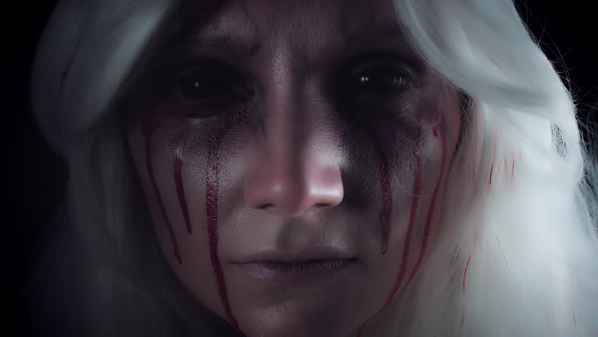 4K Horror Witch with Bloody Tears Showing Shush | Shutterstock HD Video #23222962