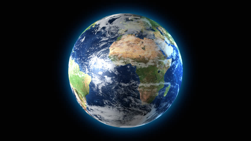 Loopable 3D animation of Earth rotating with a black background. 720P