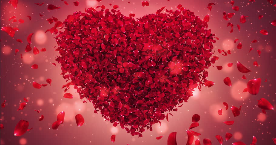 Romantic flying red rose flower petals love heart wedding background. For St. Valentines Day, Mother's Day, wedding anniversary greeting cards, wedding invitation or birthday e-card. Seamless loop 4k #23244568