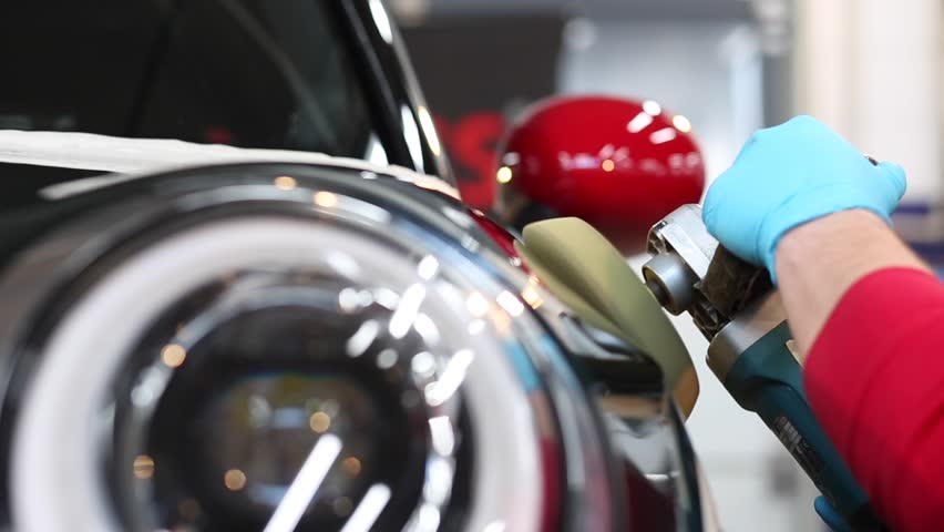 Car polishing process. Close up. Royalty-Free Stock Footage #23260612