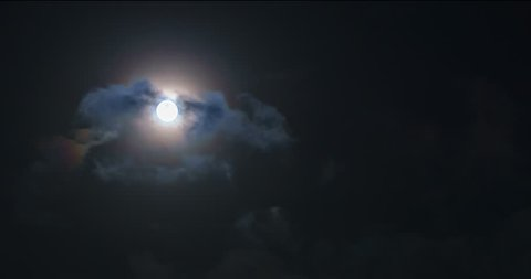 Time lapse scene of dramatic Full Moon on a cloudy night.