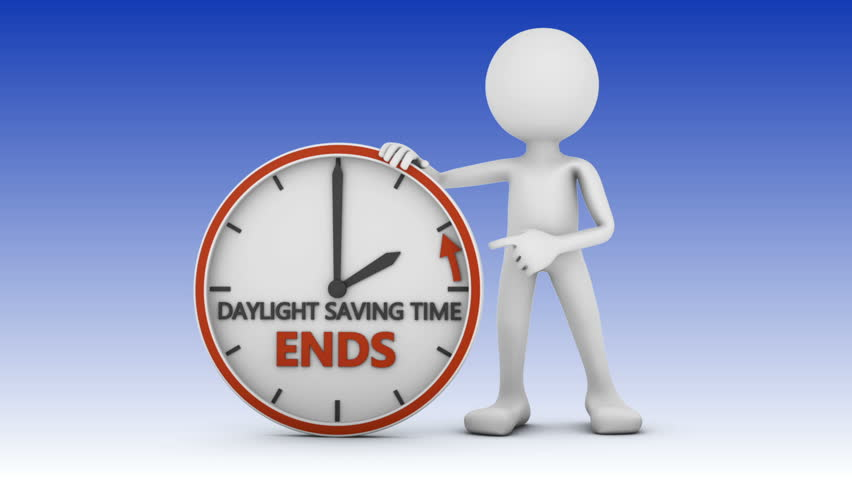 man points to the time change to daylight saving time on white background. 3d render. Royalty-Free Stock Footage #23273593