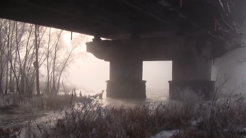 Winter River Bridge Perspective | Shutterstock HD Video #23274088