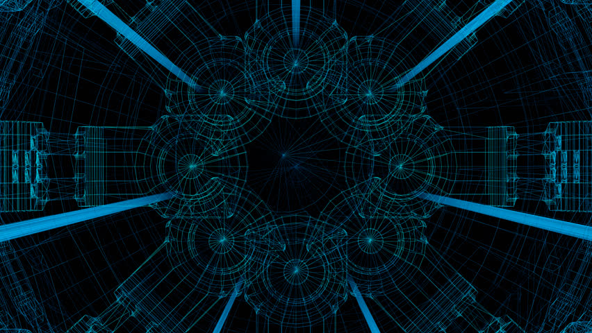 Virtual machine fly through / 3D animation of camera moving through wireframe forms, loopable | Shutterstock HD Video #23282857