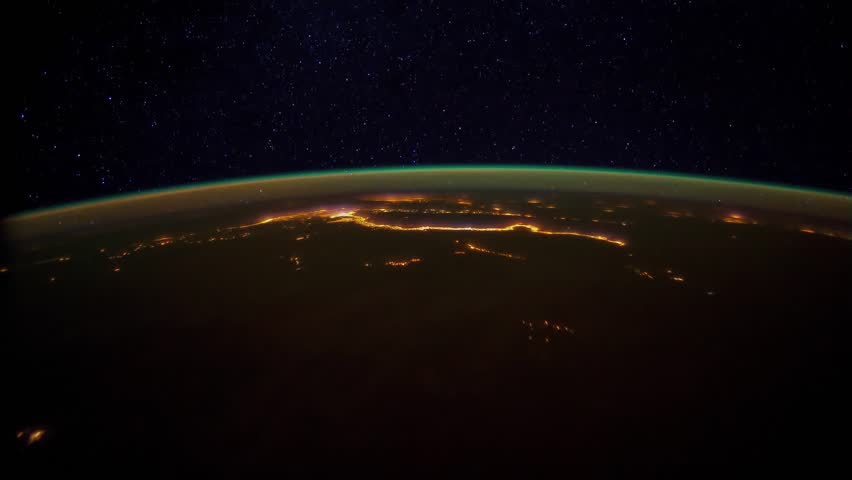 City Lights over Middle East. Pass from northwest Sudan to the Caspian Sea. Visible are northern Africa, Nile River Delta region, Cairo, Arabian Peninsula, cities of Beirut and Tel Aviv, Baghdad.