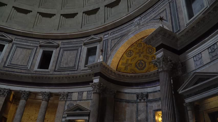 ROME, ITALY - JANUARY 22 2017: The interior of the Pantheon Built by Agrippa on 27 BC was a temple for all the gods of ancient Rome. It is a Christian church from 609. | Shutterstock HD Video #23321683
