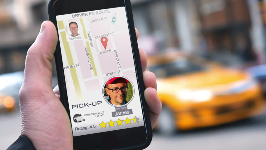 A man uses a ride-sharing app on his cellular phone to call a driver.