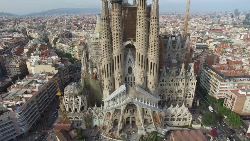 Basilica and Expiatory Church of the Holy Family, Barcelona - Spain This is an aerial video of Basilica and Expiatory Church of the Holy Family shot by drone in Barcelona, Spain.