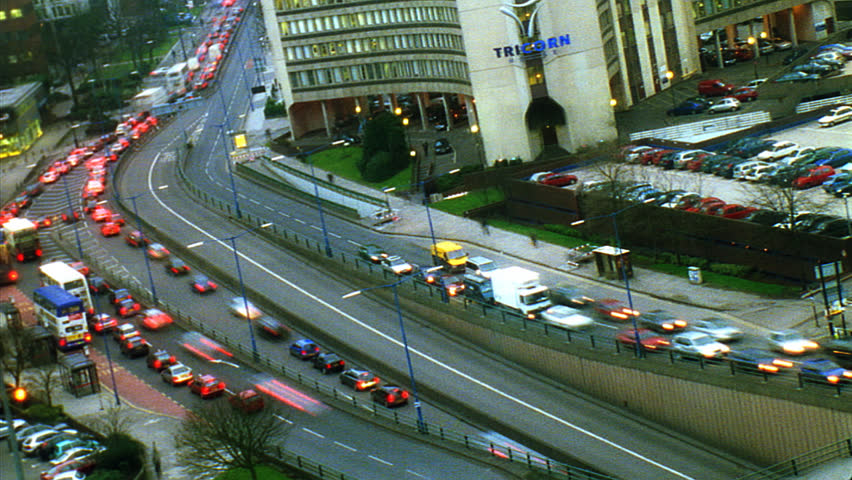 BIRMINGHAM, UNITED KINGDOM - CIRCA 2000: Traffic around dusk in Birmingham, UK circa 2000