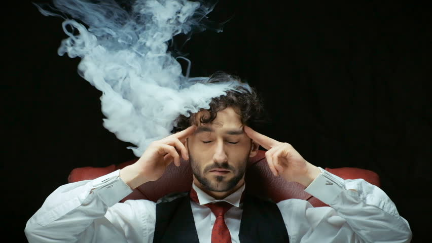 Stress with businessman and smoke in head