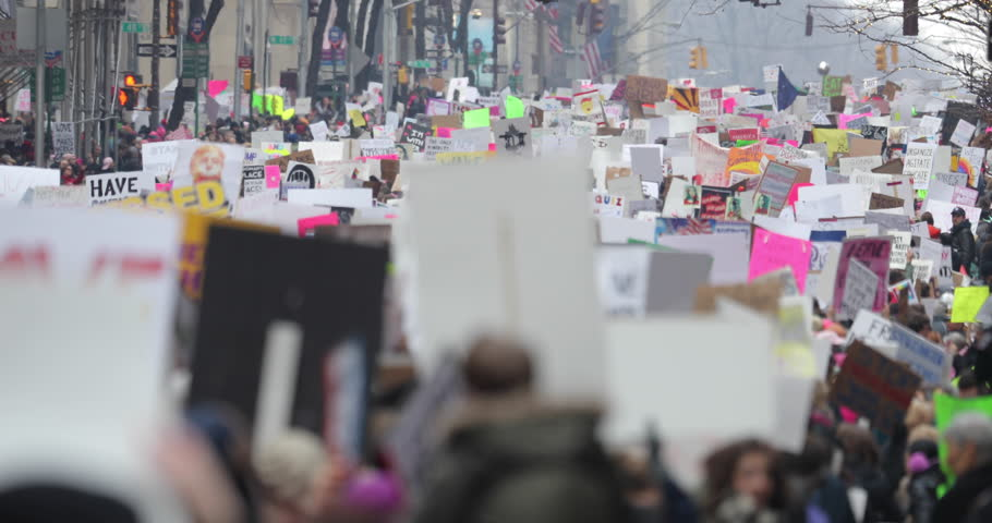 NEW YORK - JANUARY 21ST 2017: Women's March in Manhattan