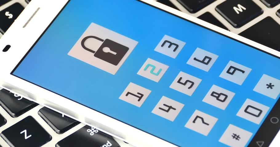 4k input password,bigital lock open on the smartphone,tech background.    Shutterstock HD Video #23355601