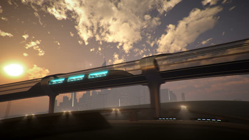 Monorail futuristic train in tunnel. 3d illustration | Shutterstock HD Video #23373040