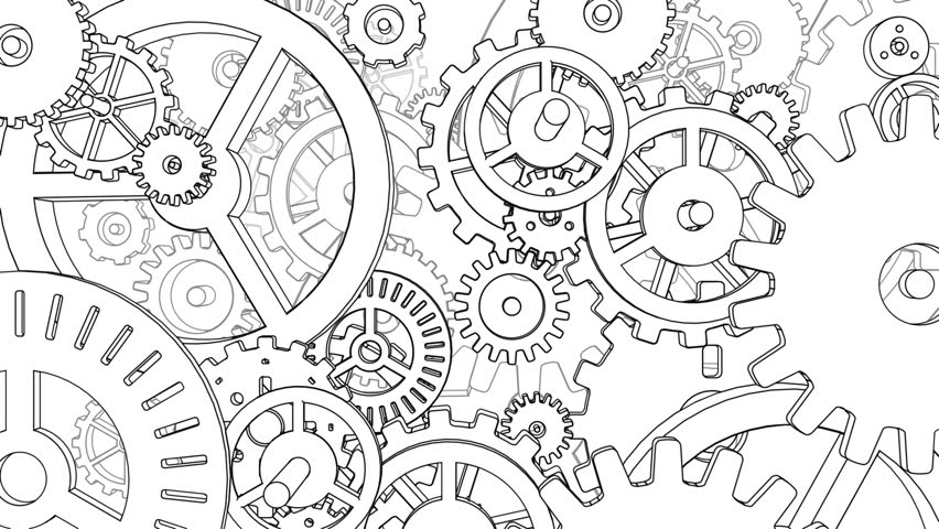Hand drawn metal gear wheels rotating on the white background. Seamless loop. More color options available in my portfolio. | Shutterstock HD Video #23381413