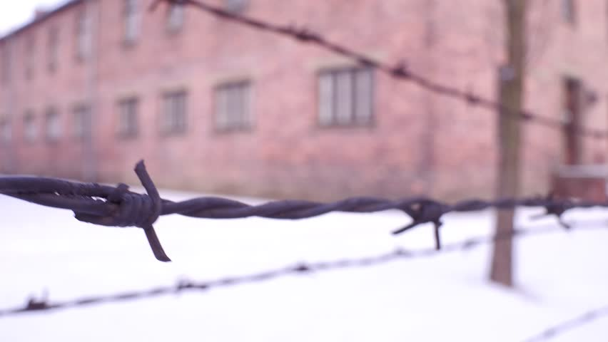Walk along old rusty barbed wire fence of Auschwitz Birkenau concentration and extermination camp. Brick barracks in the snow. 4K clip