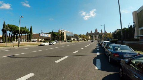 View of Catalunya National Museum of Art. Barcelona, Spain. Shot in 4K (ultra-high definition (UHD)).