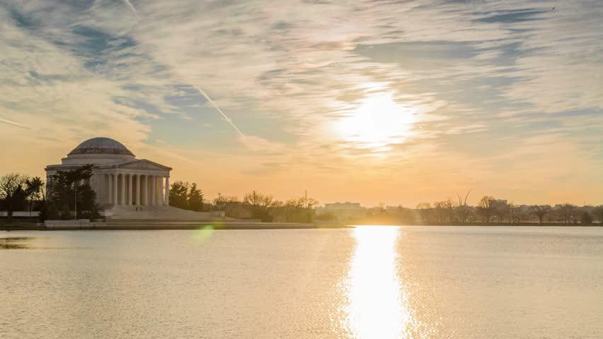 Tidal Basin Sunset in Washington DC of Thomas Jefferson Memorial, 4K Timelapse, December 2016
