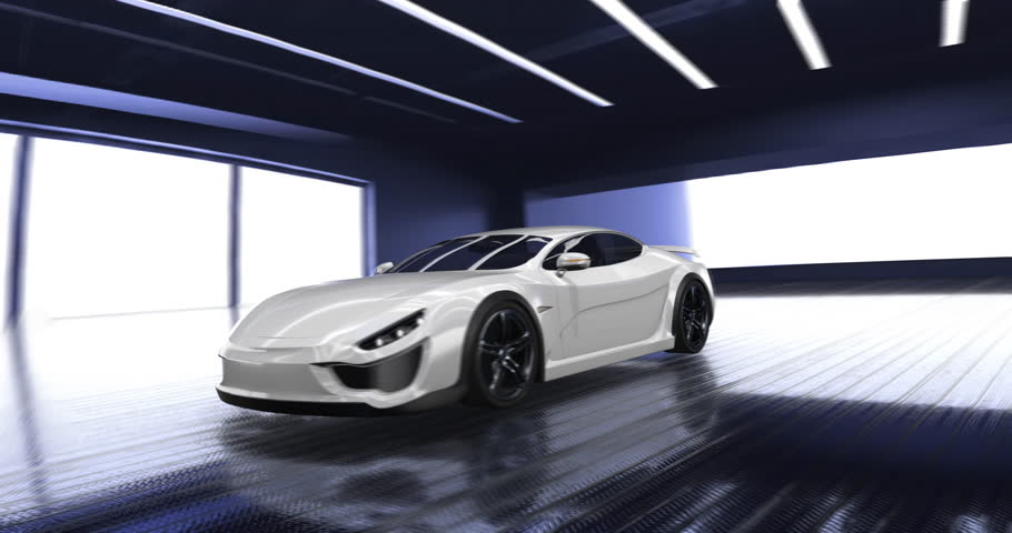 Sports car animation with futuristic dashboard display and animated V8 engine