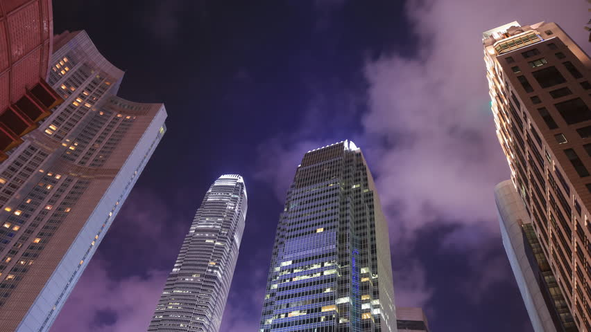 Time-lapse of Building in Hong Kong city at night, China | Shutterstock HD Video #23455060
