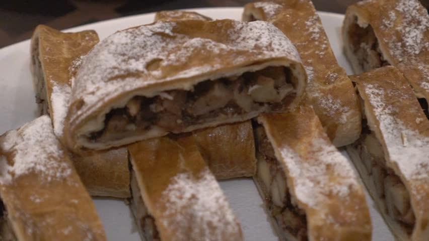 Apple Pie (Vienna Strudel) With Ice Cream Slow Motion