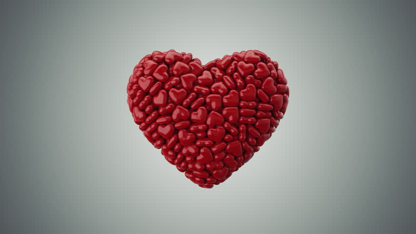 Heart Shape Made by Little Hearts,with alpha 3d Animation 4k | Shutterstock HD Video #23467645