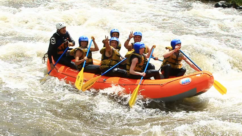 White water rafting on the rapids of the river Patate,Ecuador. Slow motion,LR Pan,handheld