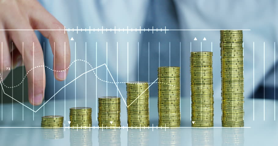 A businessman in a suit and tie with pile up golden coins  and waveform lines expressed concept of stock market, growth stock market, economic profits, stock exchange  | Shutterstock HD Video #23477752