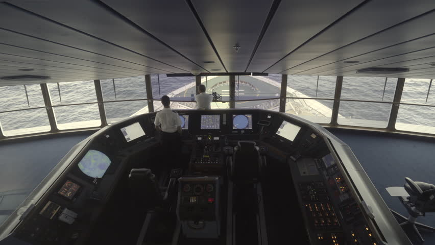 Cruise ship at sea. Captain bridge or control room inside view - October 2016. Royal Caribbean, Adventure of the seas