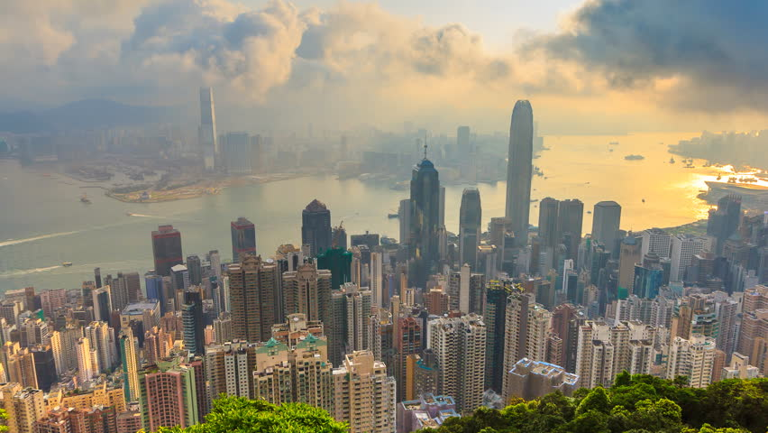 Hong Kong Cityscape High Viewpoint Victoria Peak Of Hong Kong, China 4K Time Lapse (zoom out) | Shutterstock HD Video #23489932