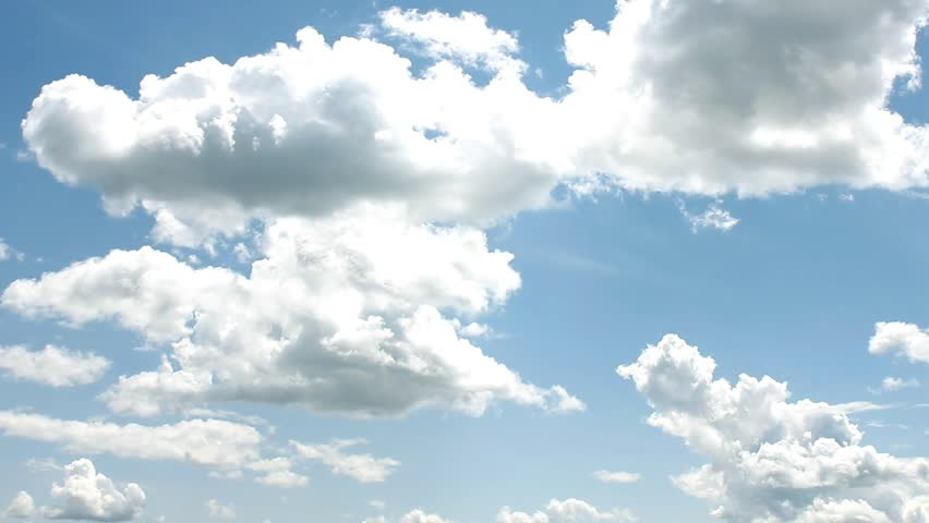 White Clouds & Blue Sky, Flight over horizon, loop-able, day, Full HD, 1920x1080.