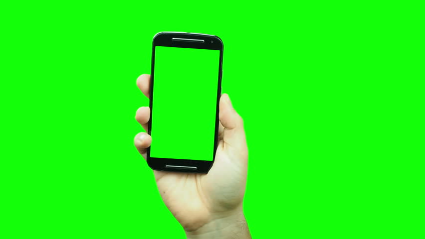 Hand popping up showing blank green screen smartphone on chroma key | Shutterstock HD Video #23504809