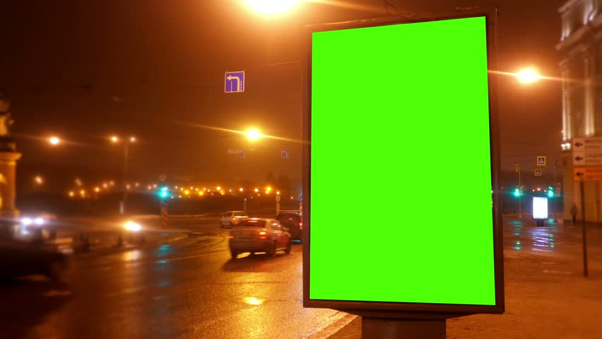 A Billboard with a Green Screen on a  Streets | Shutterstock HD Video #23526355