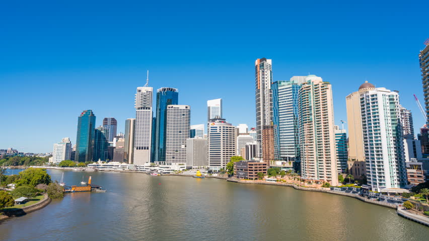 Brisbane, Australia - Sep 26, 2016: 4k hyperlapse video of Brisbane CBD in daytime