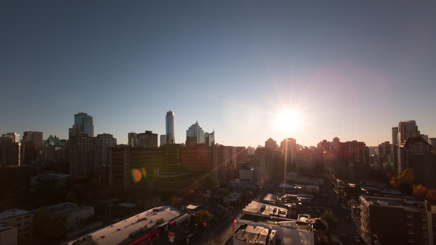 Time Lapse of Downtown Vancouver with Sun Moving Across Sky