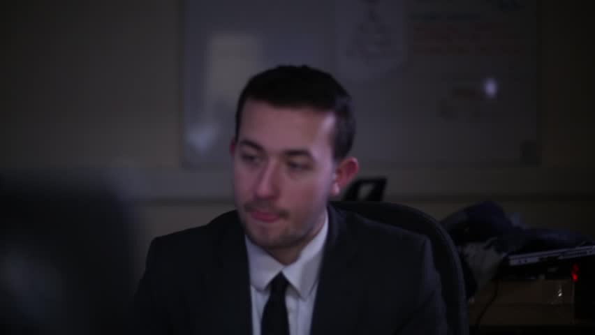 Unhappy Office Employee Working Late   Shutterstock HD Video #23540359