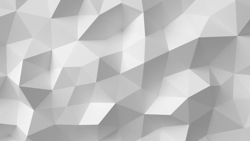 Beautiful White Polygonal Surface Moving in Seamless 3d animation. Abstract Motion Design Background in 4k. Computer Generated Process. Ultra HD 3840x2160.
