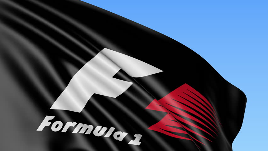 Close-up of waving flag with Formula One logo, seamless loop, blue background. Editorial animation. 4K