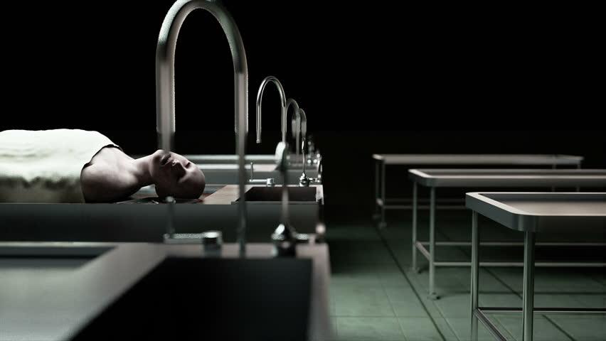 cadaver, dead male body in morgue on steel table. Corpse. Autopsy concept.