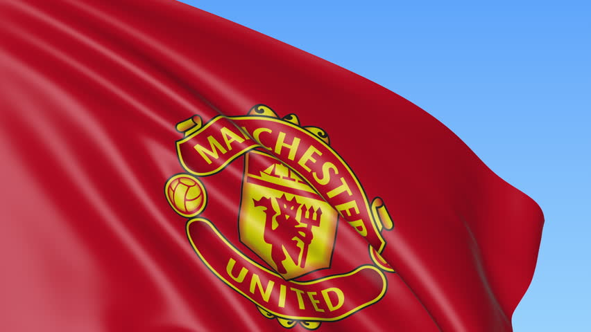 Close Up Of Waving Flag With Manchester United Fc Football Club Logo Seamless Loop Blue Background Editorial Animation 4k