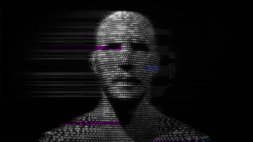 Virtual man made of digital data.  Royalty-Free Stock Footage #23576302