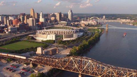 Circa-2016, Aerial view of Cincinnati, Ohio