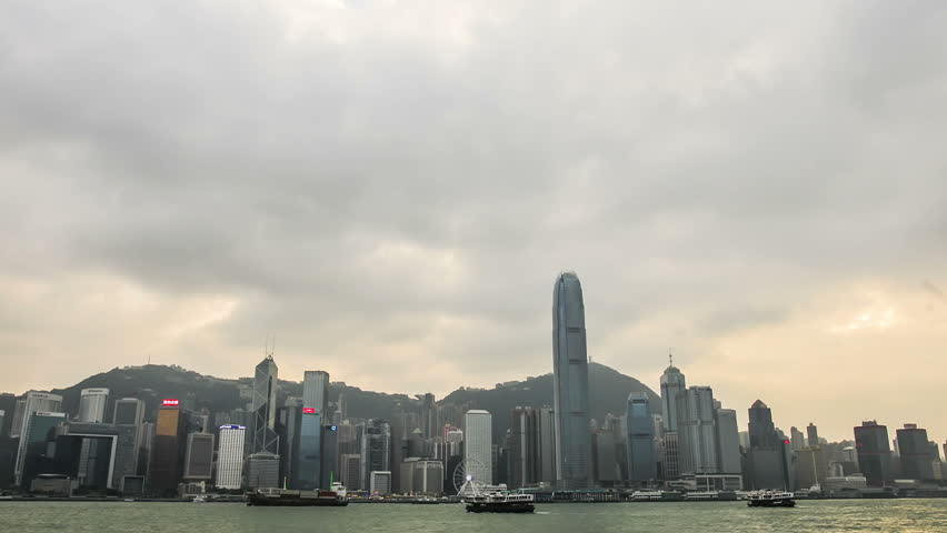 Hong Kong, China. January 15 2017. Hong kong Island skyline in timelapse | Shutterstock HD Video #23608096