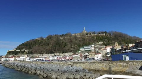 Donostia-San Sebastian, Basque Country, City, Spain. The beach of La Concha from the pier, panoramic view. 28/01/2017