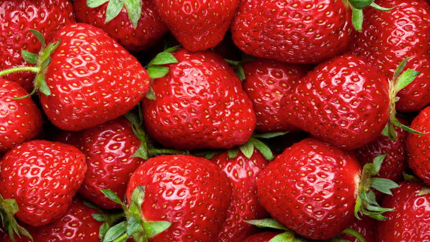 Strawberry background.  Red ripe organic strawberries on market counter. UHD, 4K #23627422