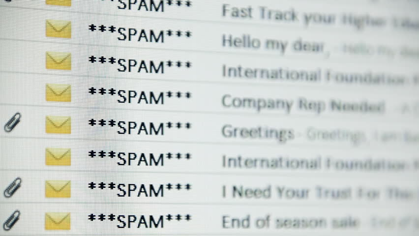 Browsing an email inbox full of spam messages. Mock-up (all elements, including gfx and text, created by me).    Shutterstock HD Video #23643787